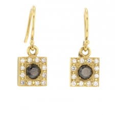 Black Diamond Gold Square Earrings Image