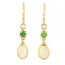 Opal and Green Garnet Drop Earrings Image