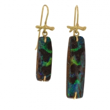 Mismatched Boulder Opal Earrings on Gold Branches Image