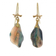 Opal Slice 18k Gold Branch Earrings with Diamonds Image
