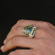 Triangle Opal Emerald Tsavorite and Sapphire Ring Image
