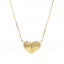 Heart Engraved 18k Gold Diamond Necklace Image