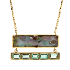 Boulder Opal and Emerald Ziggurat Necklace Image