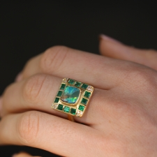 Boulder Opal, Emerald and Diamond Ring Image