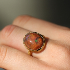 Fire Opal Gold Twist Ring 4 Image