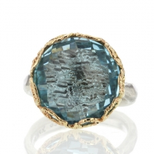 Blue Topaz Textured Silver and Gold Ring