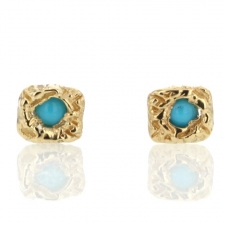 Gold Carved Lace Turquoise Stud Earrings Image