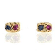 Pink and Blue Sapphire Gold Carved Stud Earrings