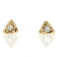 Triangle Gold Diamond Stud Earrings Image