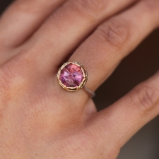 Silver and Gold Pink Tourmaline Lace Ring Image