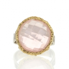 Rose Quartz Silver and Gold Ring