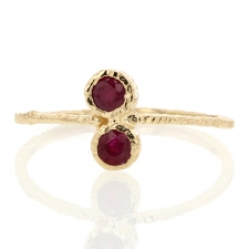 Double Ruby Gold Etched Ring