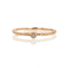 Rose Gold Etched Band with Diamond Image