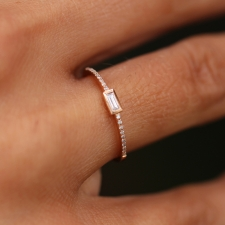 Rose Gold Diamond Baguette Ring Image