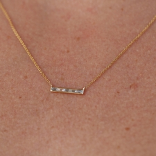 Yellow Gold Diamond Baguette Necklace Image