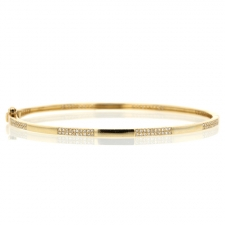 Yellow Gold Hinged Bangle with Diamonds Image