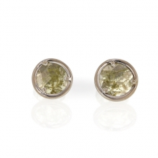 Greenish Yellow Diamond Slice White Gold Stud Earrings Image