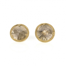 Silver Grey Diamond Slice Gold Stud Earrings Image