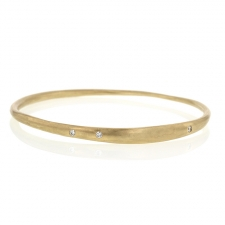 Thin Gold Drawn Bangle with Diamonds Image