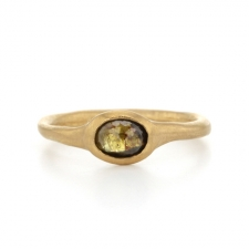 Greenish Brown Rose Cut Diamond Gold Ring Image