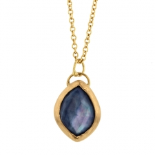 Crystal Quartz, Moonstone and Blue Sapphire Gold Necklace Image
