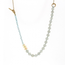 Gray Moonstone, Apatite and Opal Silk Necklace