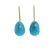Turquoise 18k Egg Earrings Image