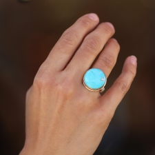 Round Turquoise Silver and Gold Ring Image