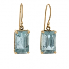 Table Cut Aquamarine Gold Drop Earrings Image