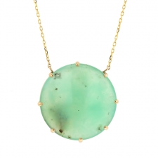Round Chrysoprase Gold Necklace Image