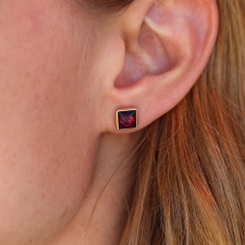 Rhodalite Garnet Stud Earrings Image