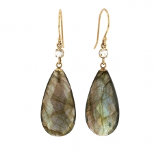 Labradorite Teardrop Diamond Earrings Image