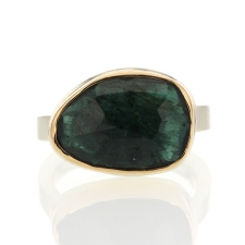 Green Tourmaline Asymmetrical Silver and Gold Ring Image