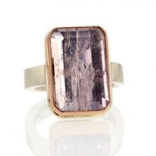 Kunzite Silver and Rose Gold ring Image