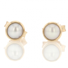 Tiny Cultured White Pearl Stud Earrings Image
