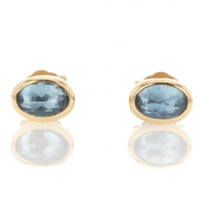 Oval Inverted Faceted Aquamarine Stud Earrings Image