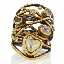 Twisted Ring with Keishi Pearl, Sapphire and Diamonds Image