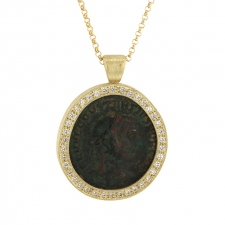 Ancient Roman Coin Diamond Necklace Image