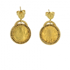Ancient Ottoman Gold Coin Earrings Image
