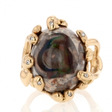 Mexican Matrix Rose Gold Opal Diamond Ring Image
