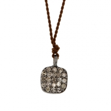Simple Pave Diamond Square Drop Necklace Image