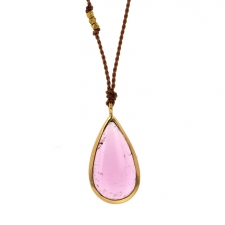 Teardrop Pink Tourmaline Gold Necklace Image