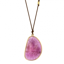 Pink Sapphire XL Freeform 18k Gold Necklace Image