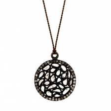 Round Diamond Slice Blackened Silver Necklace