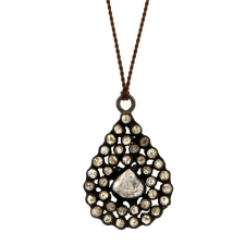 Diamond Slice Mosaic Teardrop Silver Necklace Image