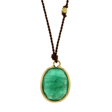 Emerald Bezel Set Necklace