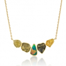 Orbit Boulder Opal Sapphire and Diamond Gold Necklace