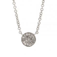 White Gold Diamond Button Necklace Image