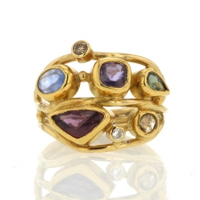 Mixed Gemstone Twisted Gold Ring Image