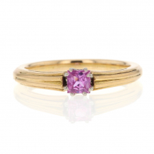 Solitaire Pink Tourmaline 14k Yellow Gold Ring Image